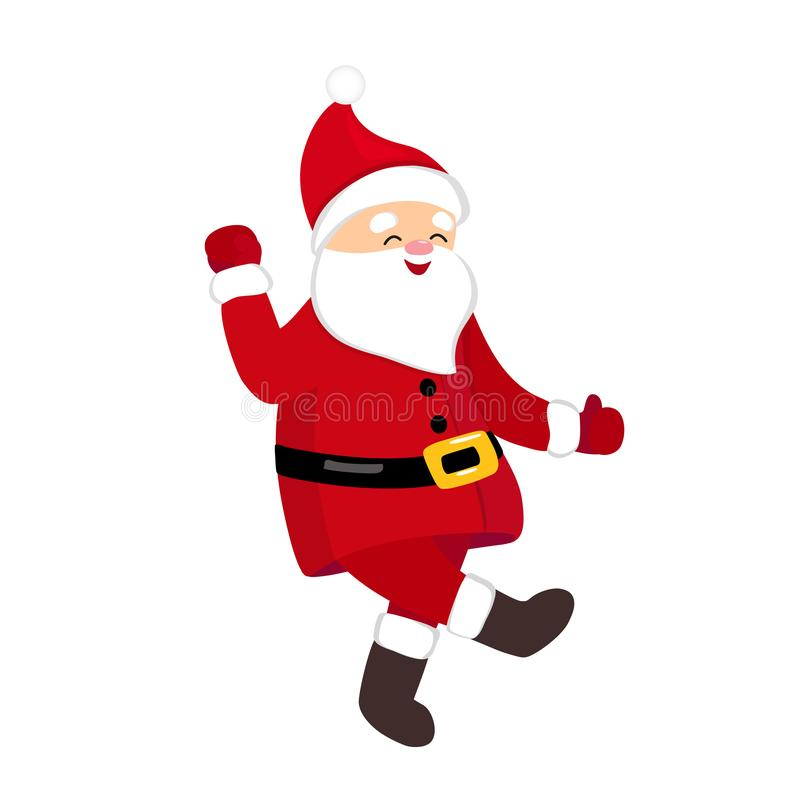 Funny Santa dancing hype move, quirky cartoon comic character. royalty free stock images