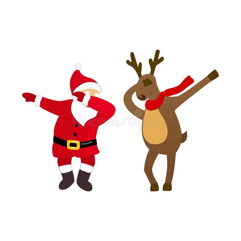 Funny Santa and deer dancing dab move, quirky cartoon comic characters. stock illustration