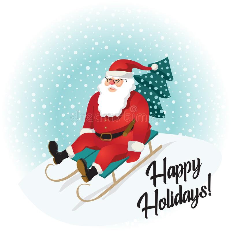 Funny santa sledding with mountains. Christmas greeting card background poster. Vector illustration. vector illustration
