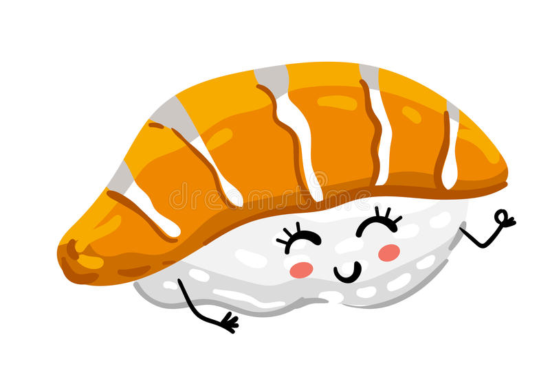 Funny sashimi sushi isolated cartoon character royalty free illustration