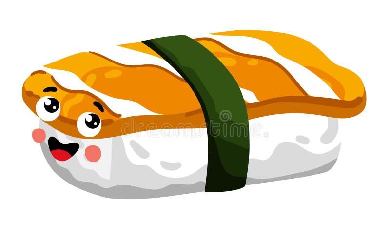 Funny sashimi sushi isolated cartoon character. Cute sushi roll cartoon character isolated on white background vector illustration. Funny japanese sushi with vector illustration