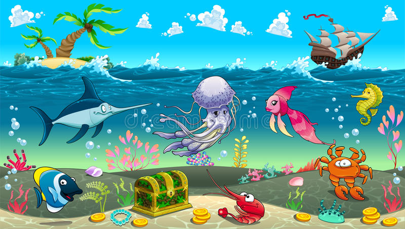 Funny scene under the sea. stock vector. Illustration of ...