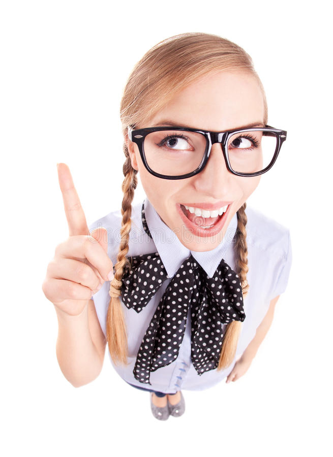 Funny school girl pointing up stock images