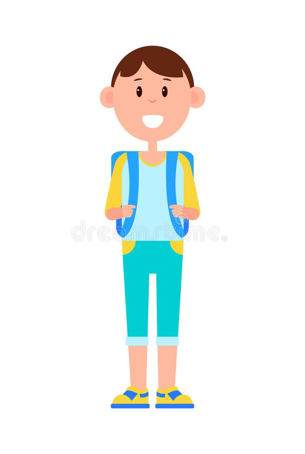 Funny Schoolboy with Big Backpack and Broad Smile vector illustration