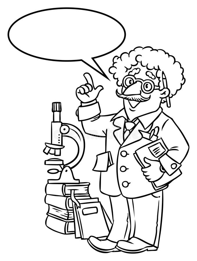 Funny scientist or inventor. With balloon for text. Coloring picture of funny scientist or inventor. An old man in glasses with books, folders and microscope vector illustration