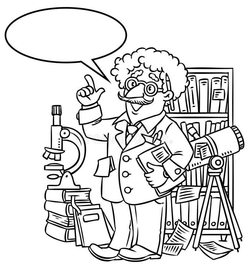 Funny scientist or inventor. With balloon for text. Coloring picture of funny scientist or inventor. An old man in glasses with books, folders, microscope and royalty free illustration