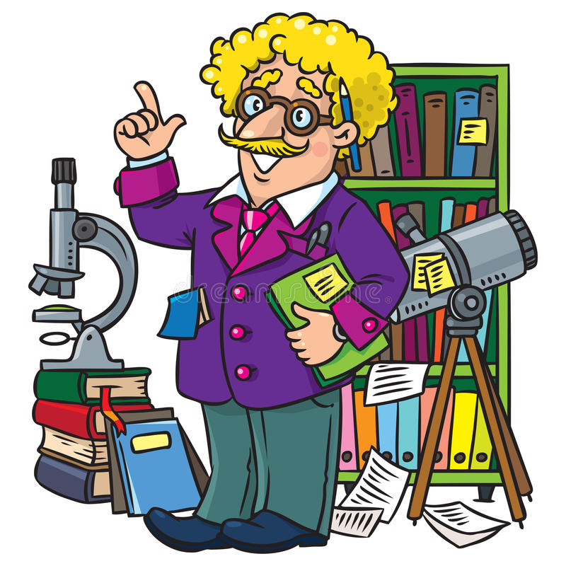 Funny scientist or inventor, Profesion ABC series. Childrens vector illustration of funny scientist or inventor. A man in glasses and suit with books, folders stock illustration