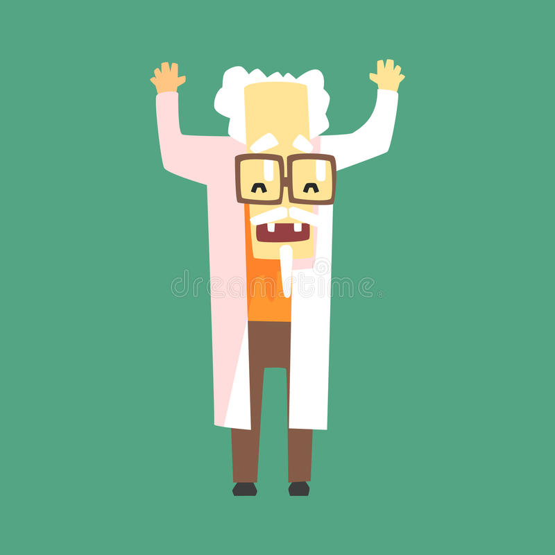Funny Scientist In Lab Coat With A Goatee. Character Drawing On Green Background In Cool Geometric Style vector illustration