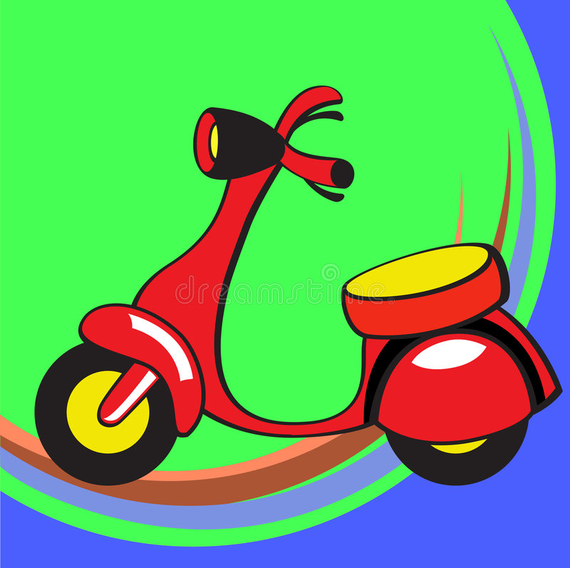 Funny scooter. Vector illustration of Transport Cartoon. Little funny scooter royalty free illustration