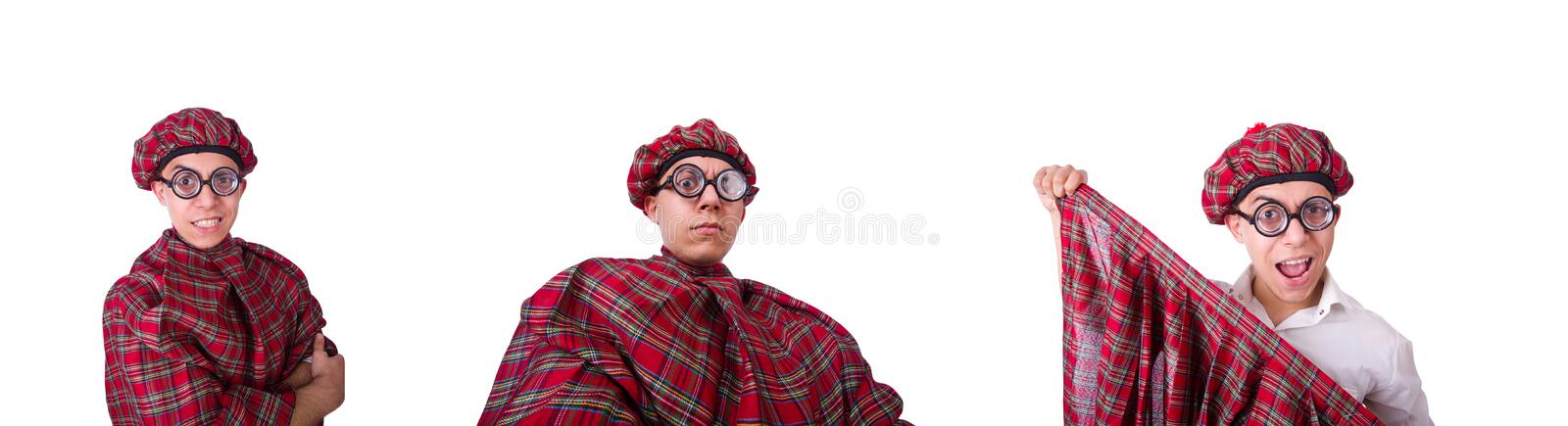 Funny scotsman isolated on the white. The funny scotsman isolated on the white stock image