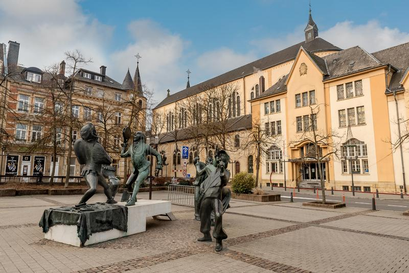 Funny sculptures on the square Place du Theatre near Theatre des Capucins in Luxembourg City,Luxembourg royalty free stock images