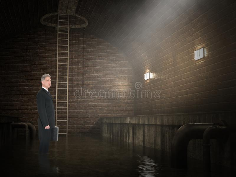 Funny Lawyer, Legal Sewer Office. A funny scum lawyer stands in his office which is an underground sewer. The legal man stands in raw sewage royalty free stock image