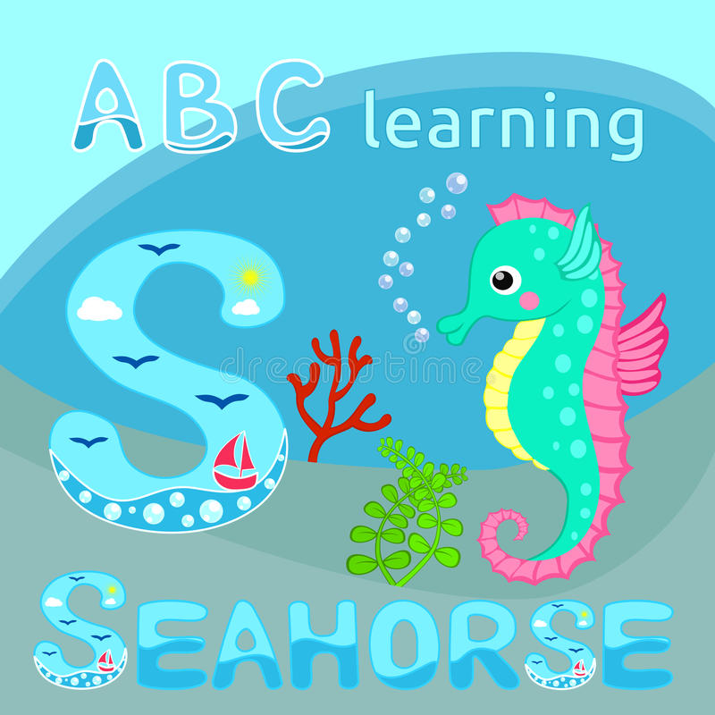 Funny sea animal alphabet S is for Seahorse Cute cartoon seahorse, red coral branch and seaweeds vector illustration Tropical sea stock illustration