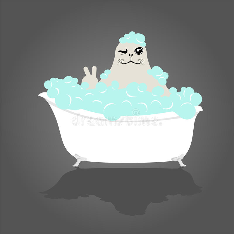 Funny seal in bathtub stock illustration