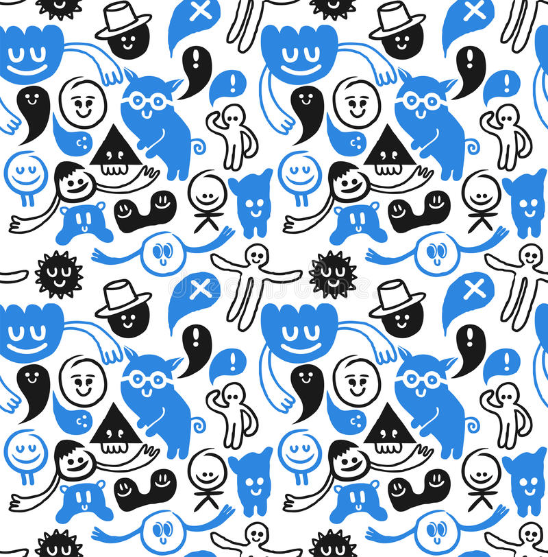 Download Funny seamless doodles stock vector. Image of able, funky - 12743277