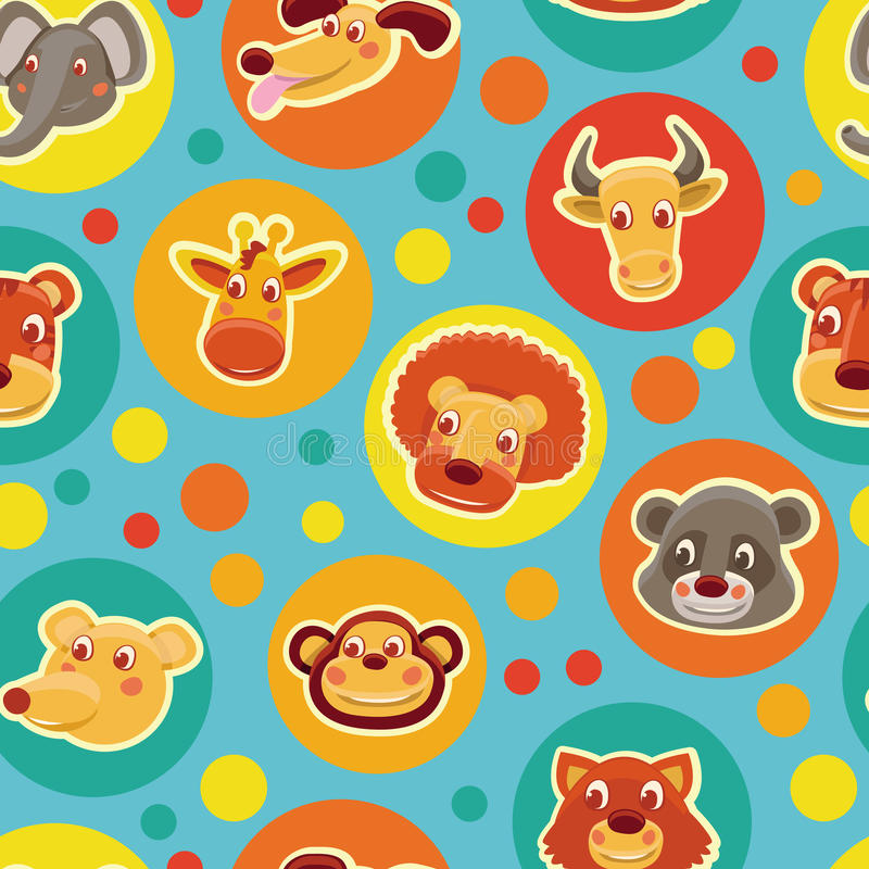 Download Funny Seamless Pattern With Cartoon Animal Heads Stock Vector - Illustration of colorful, icon: 25575732
