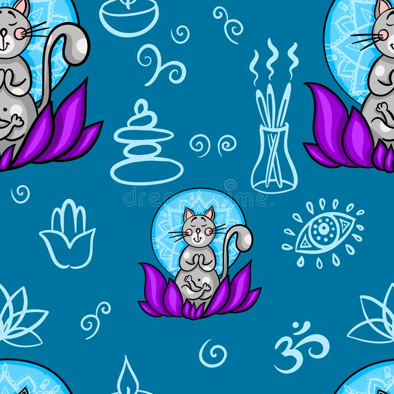 Funny seamless pattern with cartoon cat doing yoga position. Cat meditation in lotus. Healthy lifestyle concept stock illustration