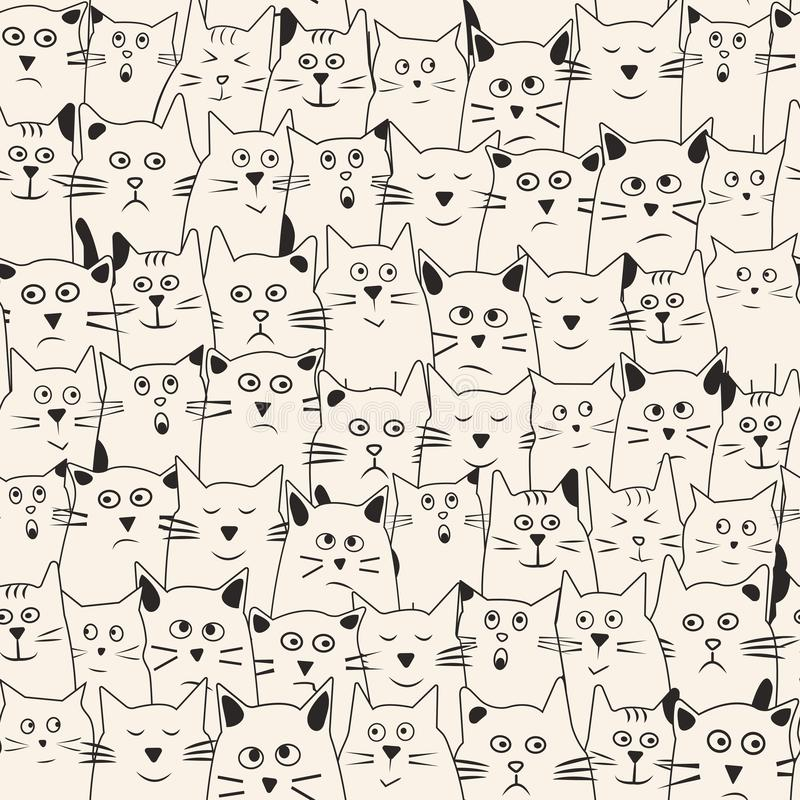 Funny seamless pattern with cartoon cats hand drawn with differents emotions. Vector. Illustration royalty free illustration