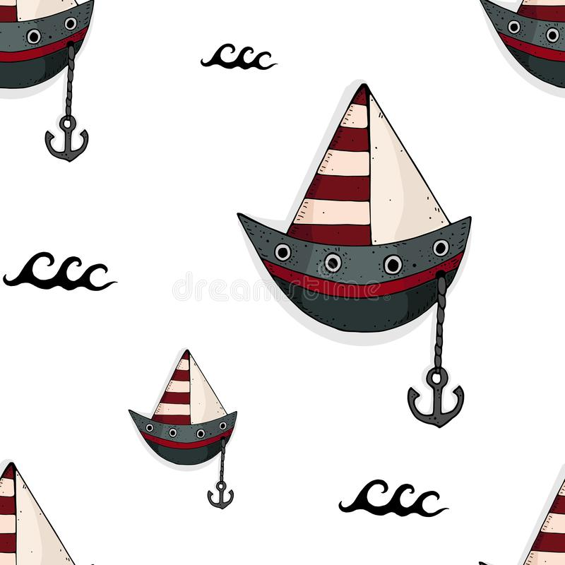 Funny seamless pattern with cartoon ship and decorative elements. Marine theme. vector. vector illustration