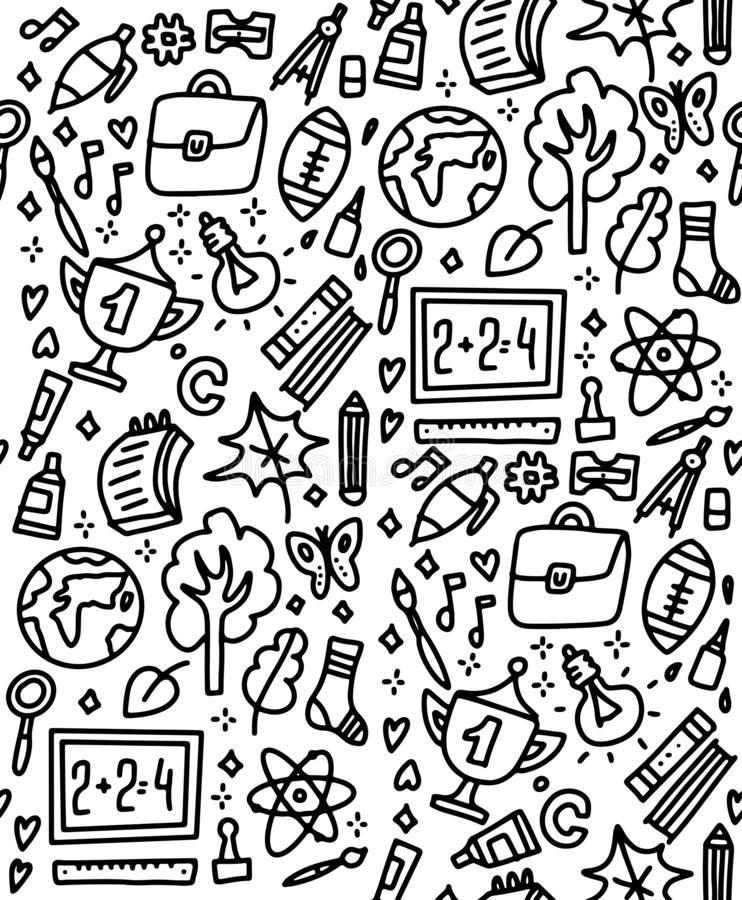 Funny seamless pattern with school supplies and creative elements. Back to school background for education, science objects and royalty free illustration