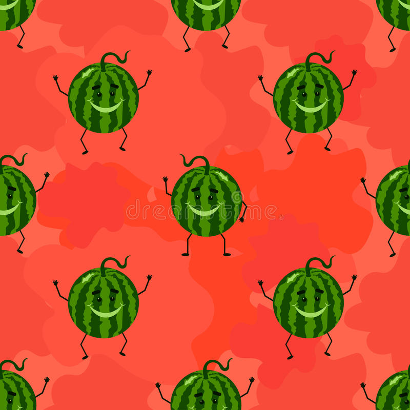 Funny seamless pattern with watermelon. vector illustration