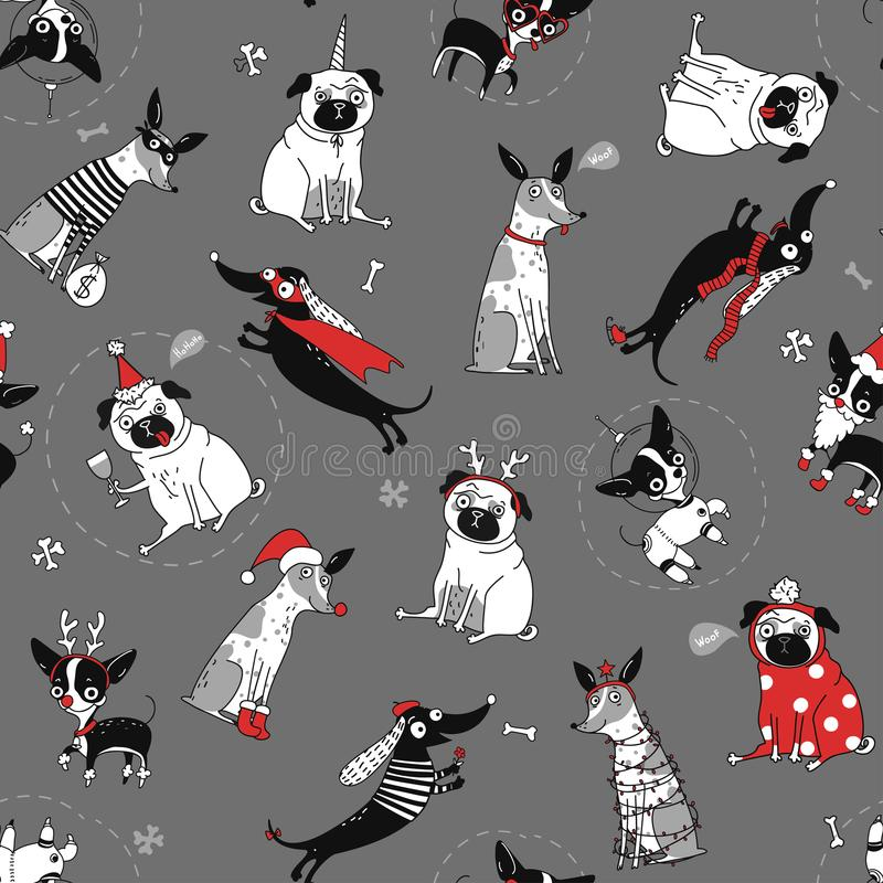 Funny seamless texture with dogs vector illustration