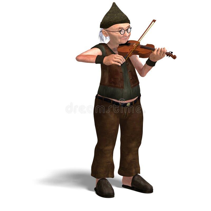 Funny senior plays the violin stock illustration