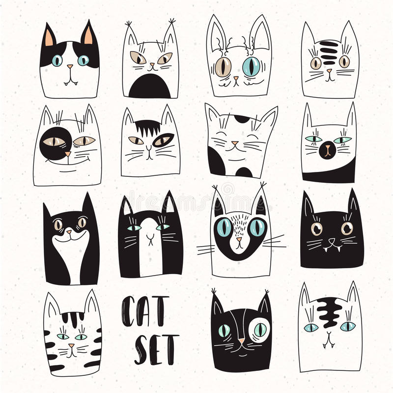 Funny set of vector cats stock illustration