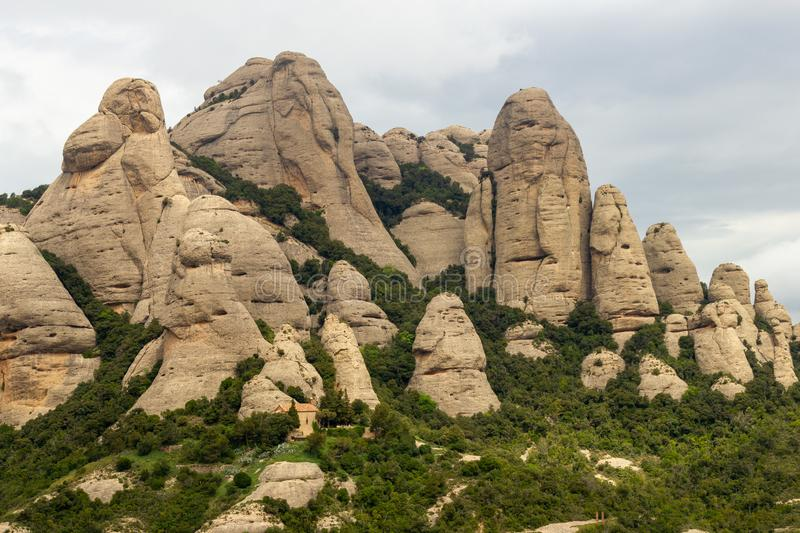 Funny shaped mountains at Montserrat royalty free stock photos