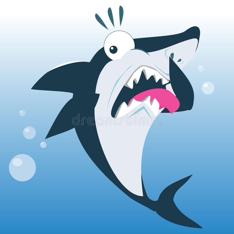 Funny Shark in Disgust Expression. Funny Shark in The Expression of Disgust Cartoon Illustration royalty free illustration