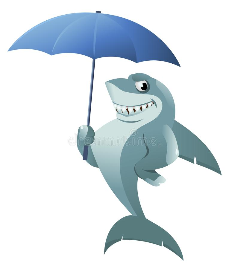 Funny shark with umbrella stock illustration