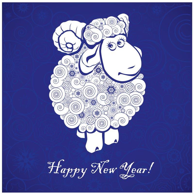 Funny sheep on blue background stock illustration