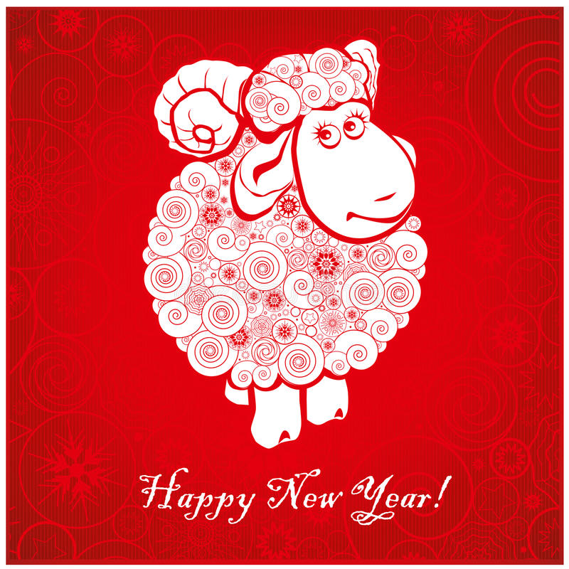 Funny sheep on bright red background 2 vector illustration
