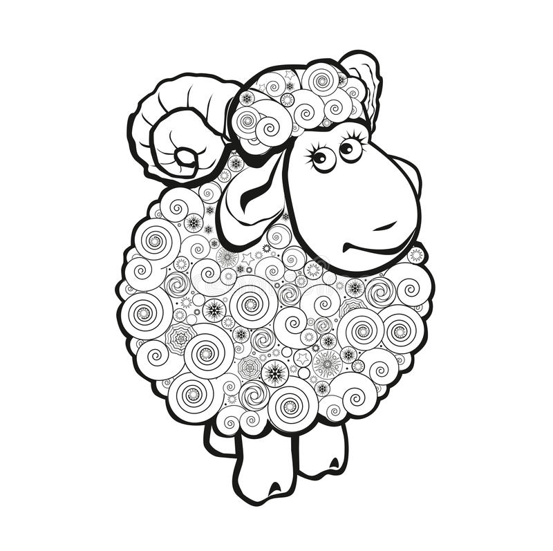Funny sheep for coloring book royalty free illustration