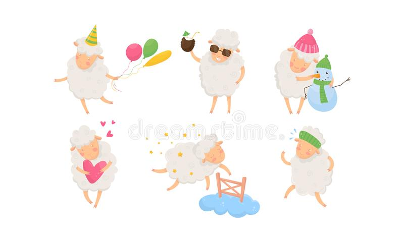 Funny Sheep Having Fun. Sheep Carrying Balloons Vector Illustration vector illustration
