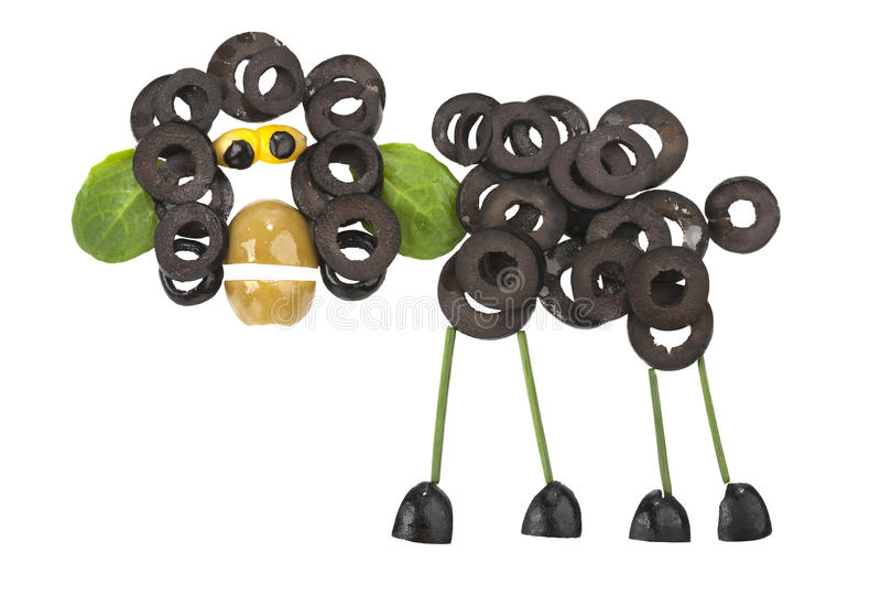 Funny sheep made of olives stock photography