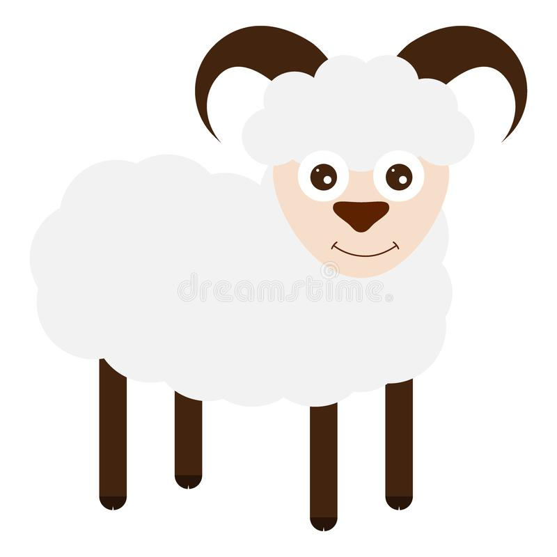 Funny sheep on a white background. stock illustration