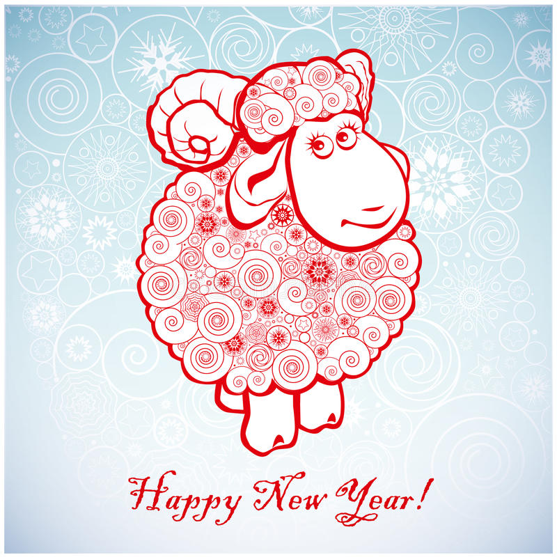 Funny sheep on white background of Snowflakes royalty free illustration