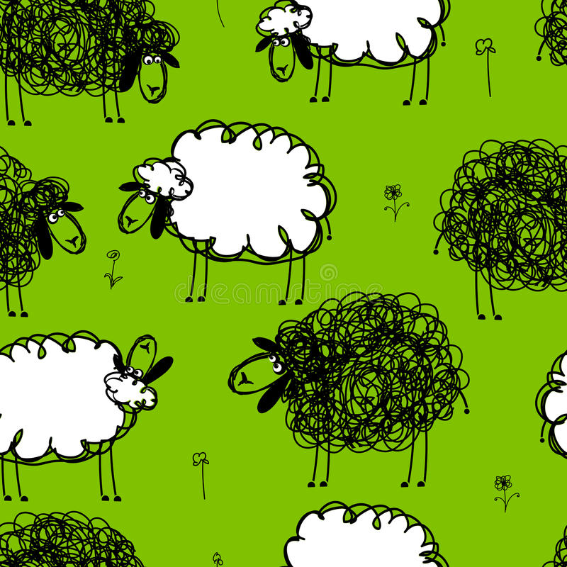 Download Funny Sheeps On Meadow, Seamless Pattern For Your Royalty Free Stock Images - Image: 33139289