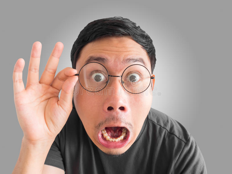 Funny shocked and surprised face of man. royalty free stock image