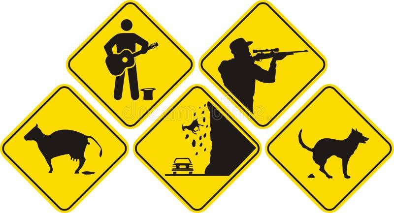 Funny sign - black & yellow stock illustration