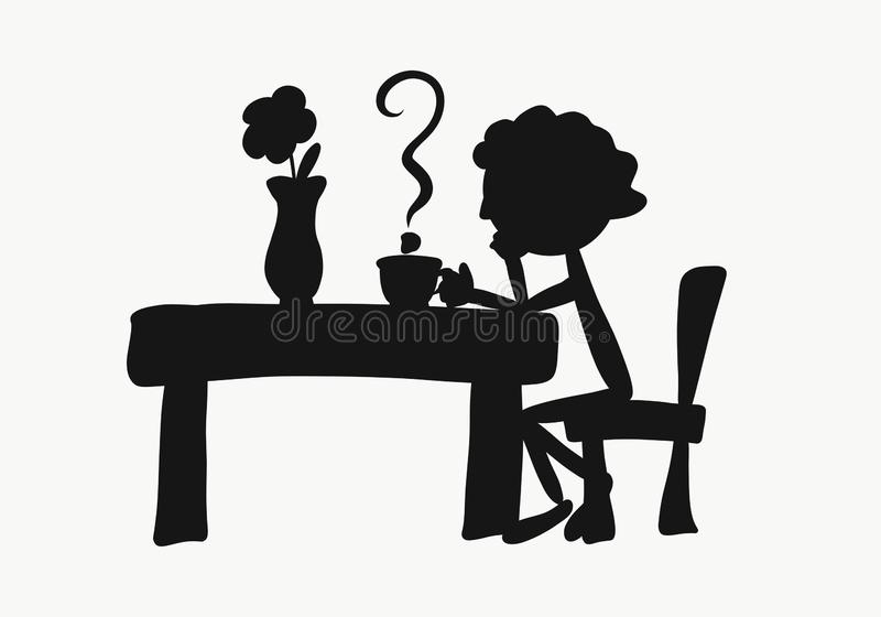 Funny silhouette of a man sitting at a table with a cup, a pair stock illustration