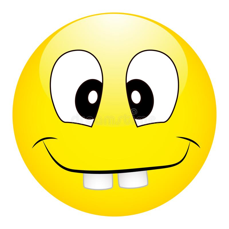 Funny silly yellow smiley with big teeth on a white background royalty free illustration