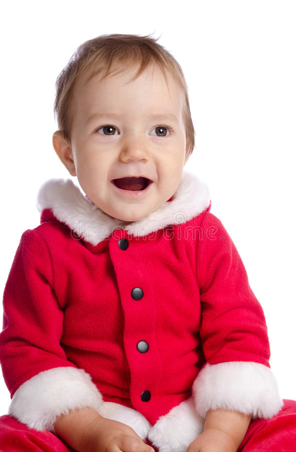 Funny singing baby in Santa Claus clothes. Funny baby in Santa Claus clothes on white background stock photos