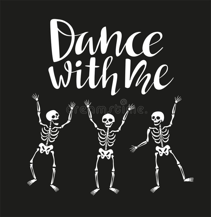 Funny Skeletons In Different Poses With Lettering `Dance With Me ...