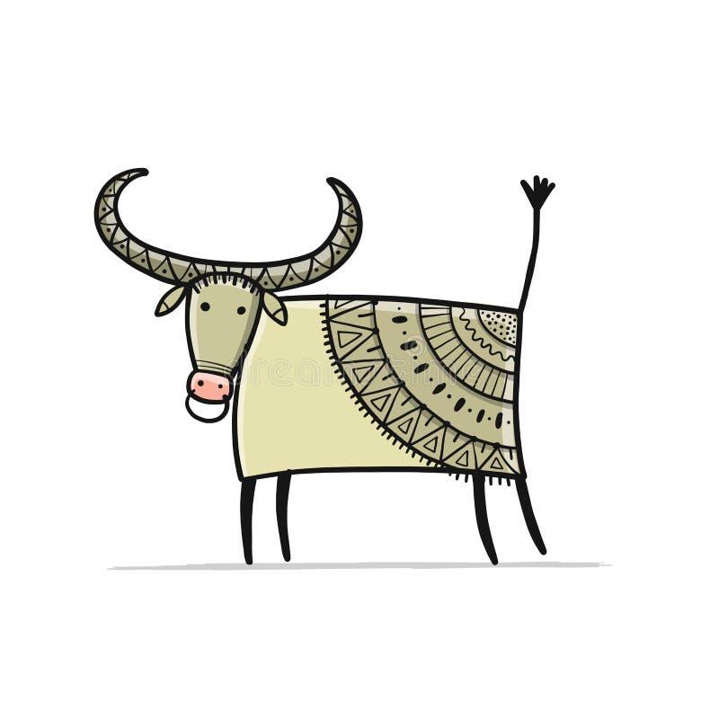 Funny Sketch Bull. Lunar Horoscope Sign. Happy New Year ...