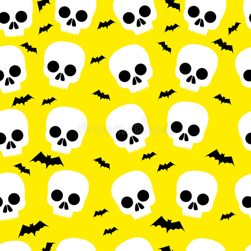 Funny skull, bat, halloween, seamless pattern, yellow background vector illustration
