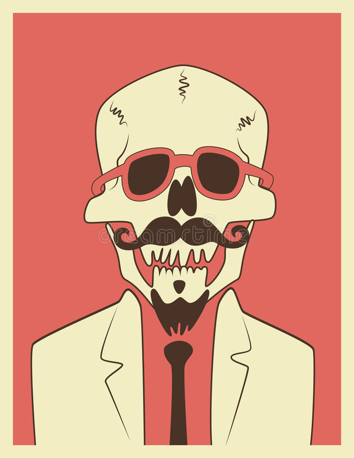 Free Funny Skull Hipster Character With A Mustache And Beard. Typographic Retro Halloween Poster. Vector Illustration. Royalty Free Stock Image - 56267096