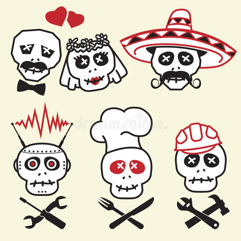 Funny skulls, smiles. Various emotions and characters, illustration stock illustration