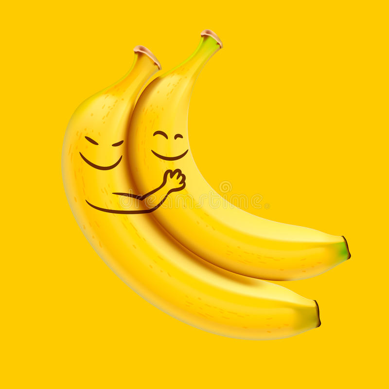 Funny sleeping bananas stock illustration